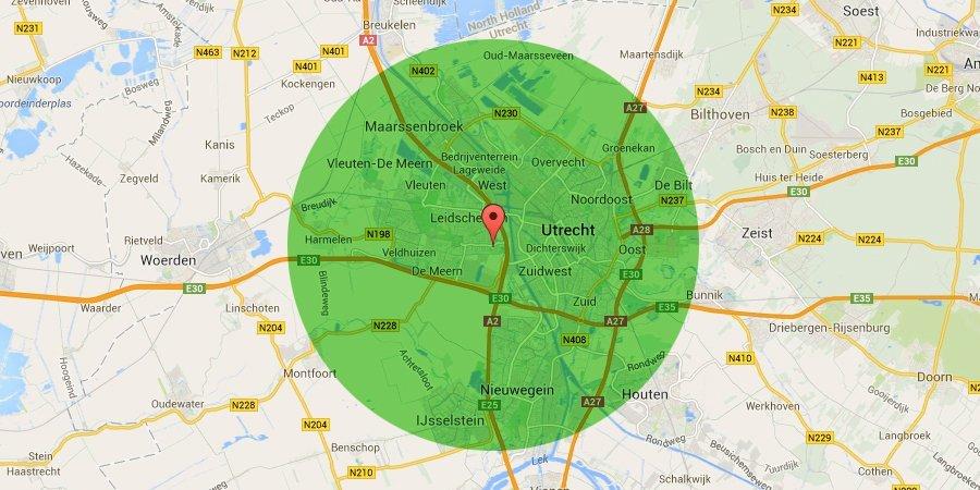 Kaart van omgeving Utrecht