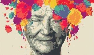 dipinto di una anziana signora con fiori colorati