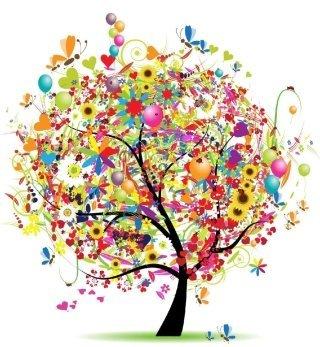 disegno di un albero con foglie colorate e palloncini