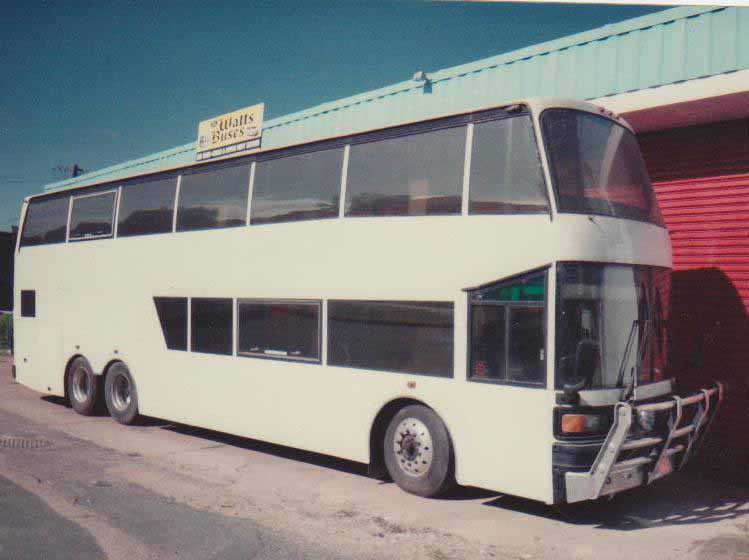 Double decker bus after service