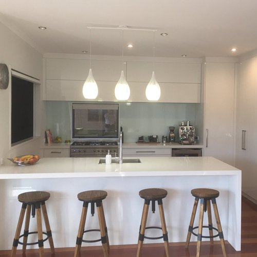 View of a hanging lights in a newly renovated kitchen