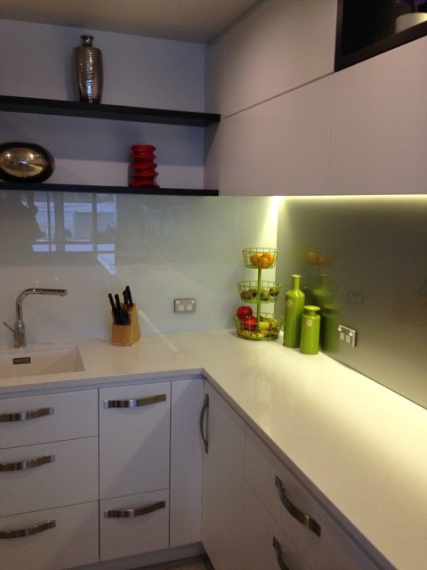 View of kitchen counter tops