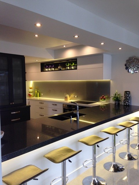 Modern kitchen with spot lights