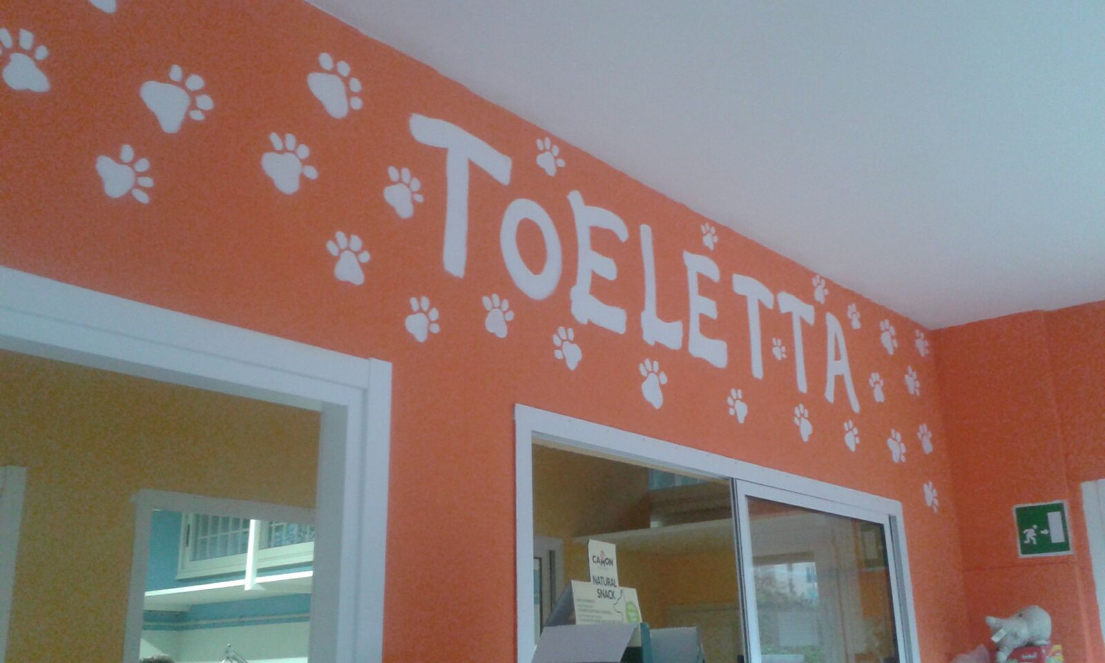 Un muro dipinto di color arancione con disegni delle zampe, scritta Toeletta e vista di una porta e una finestra aperta