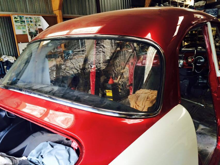 classic car with brand new rear glass window fitter by Gregory glass and glazing