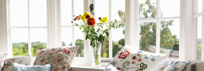 glass windows in home living room with flowers in vase beside