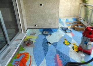 restauro dei mosaici in una casa