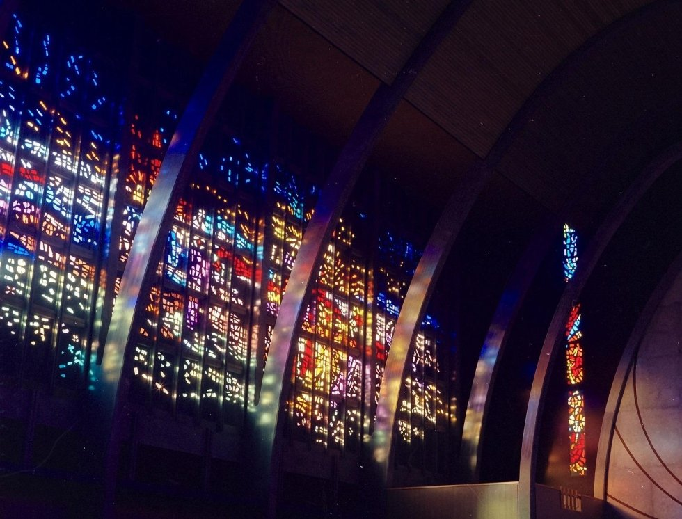 Large stained glass windows