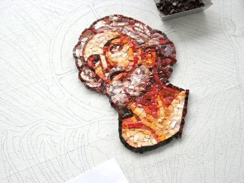 Fasi di lavorazioni mosaico-Padre Franceso Radaelli - altare