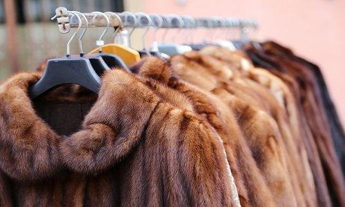 delle pellicce marroni appese