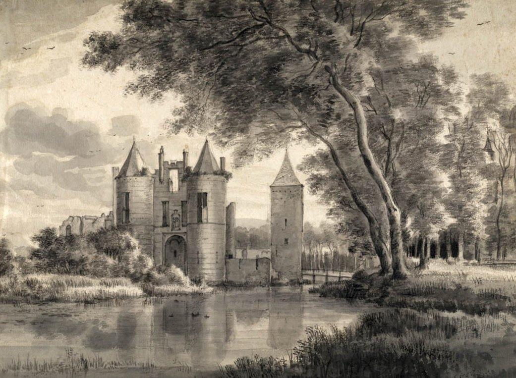 Prachtige pentekeningen van Roelant Roghman (1645) tonen de oude ruïne
