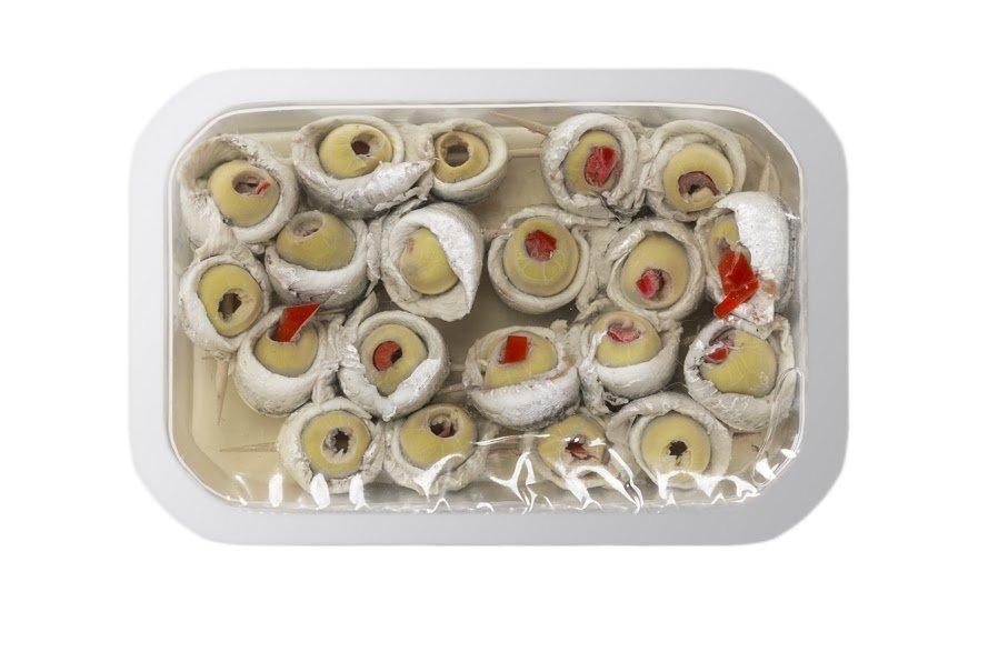 olive e peperoni con acciughe