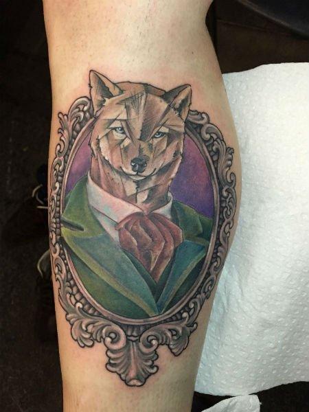 tatuaggio old style di una volpe