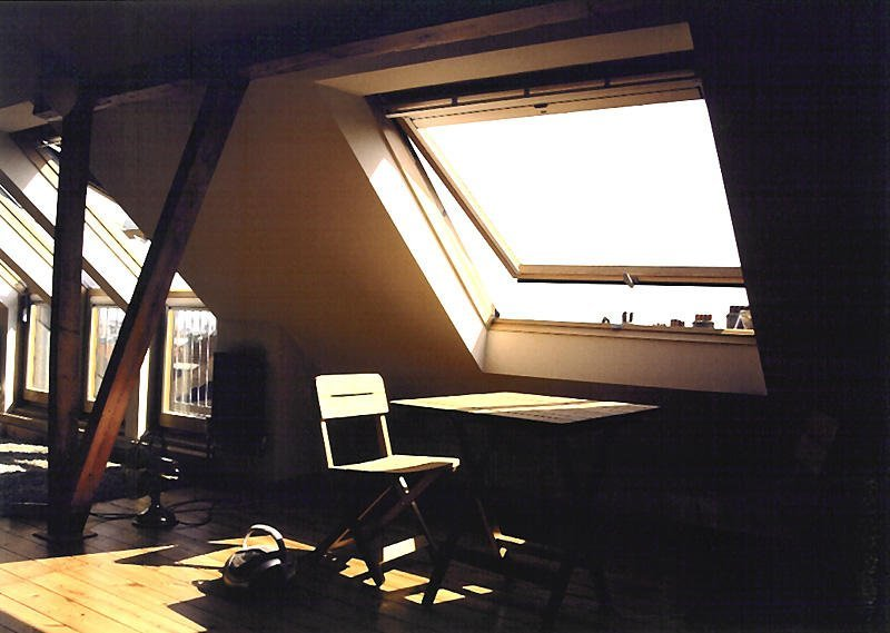 sun rays through the loft windows