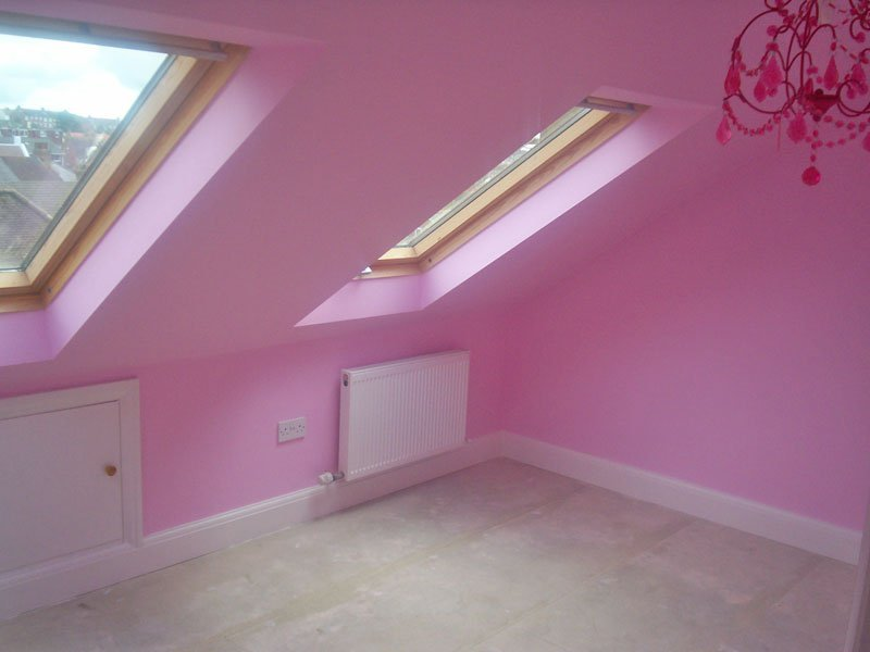 pink coloured wall painting