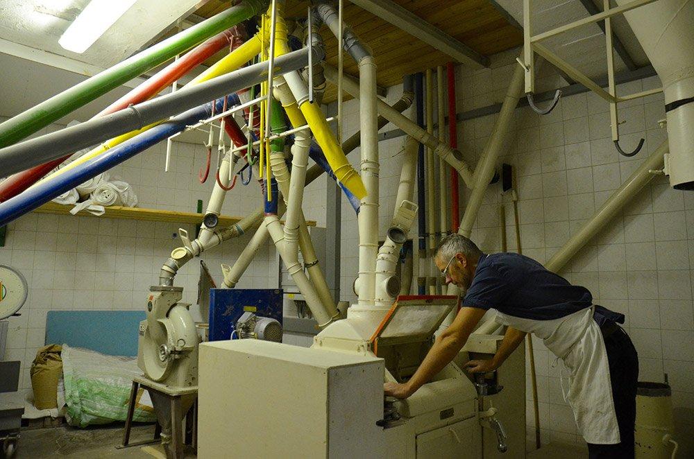 addetto controlla il settaggio dell` impianto per il trattamento e pellettatura del mangime