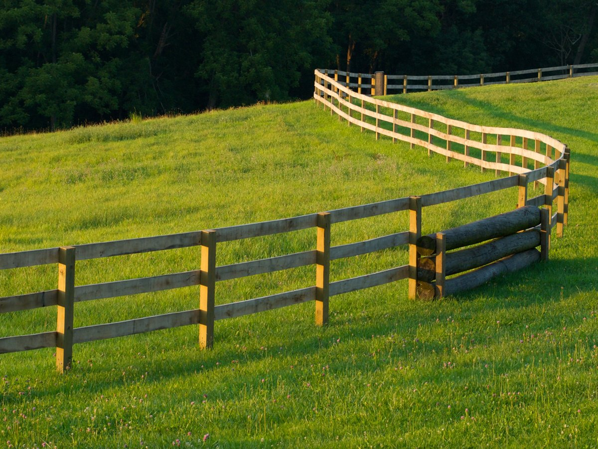 A long wooden fence winds through a grass filled farm field