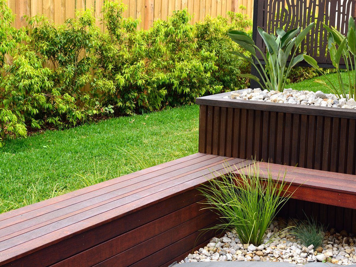 Combinations of plants and decking benches