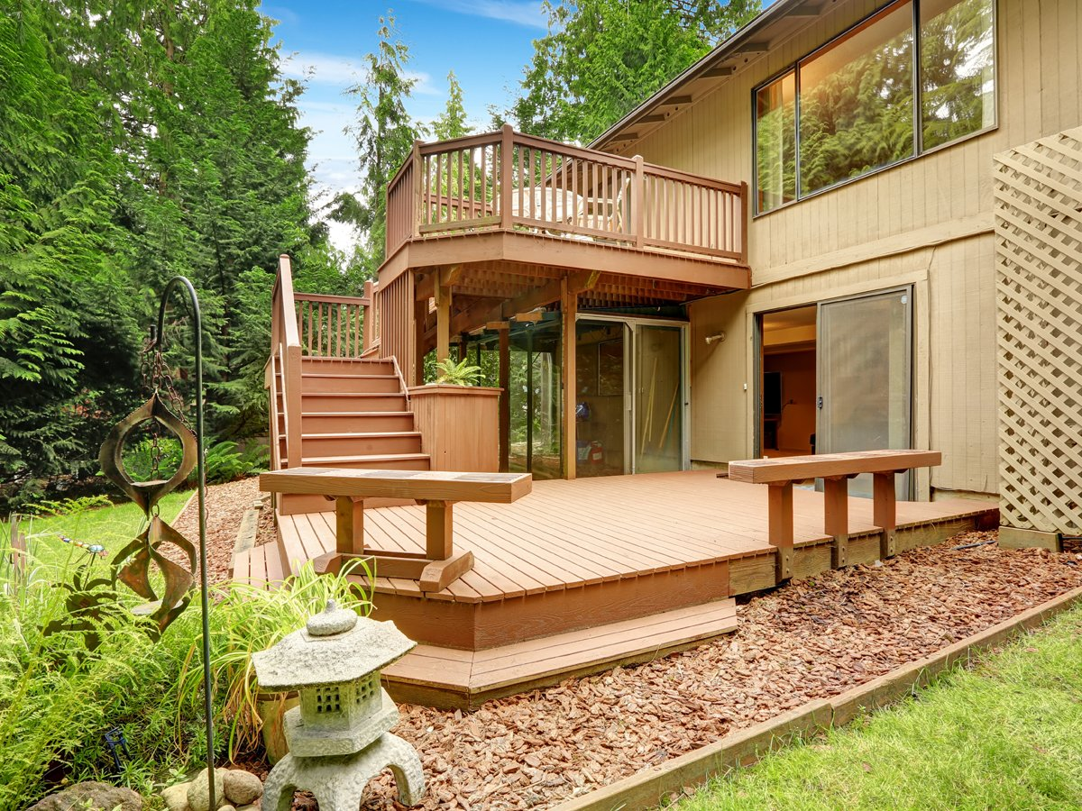 House with walkout deck and patio