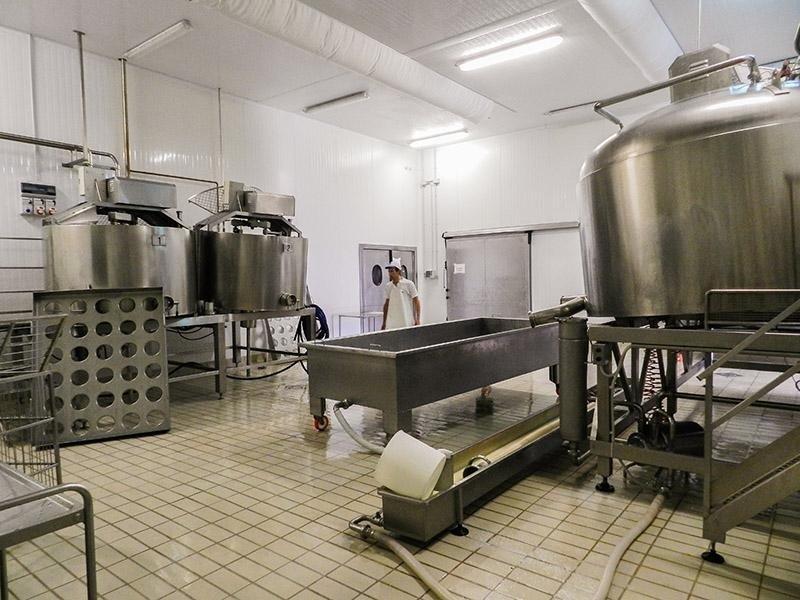 Equipment at the PAS cheese factory in Villanovaforru, Sardinia