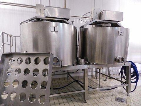 Equipment at the PAS cheese factory in Villanovaforru, Sardinia