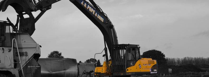 A large yellow digger