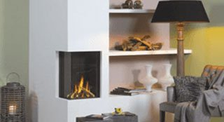 wall built fire place