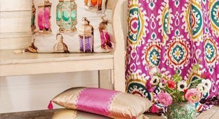colourful curtains and cushions