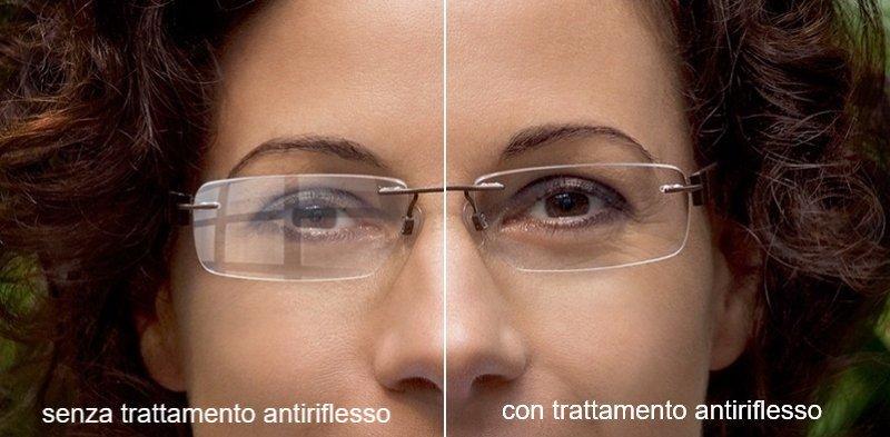 Prima e dopo di due lenti trattate per indurimento