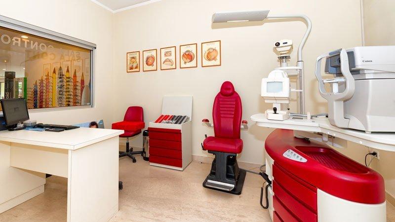 l'ufficio visto da una diversa angolazione con scrivania, monitor, due sedie rosse e apparecchiatura per test ottici