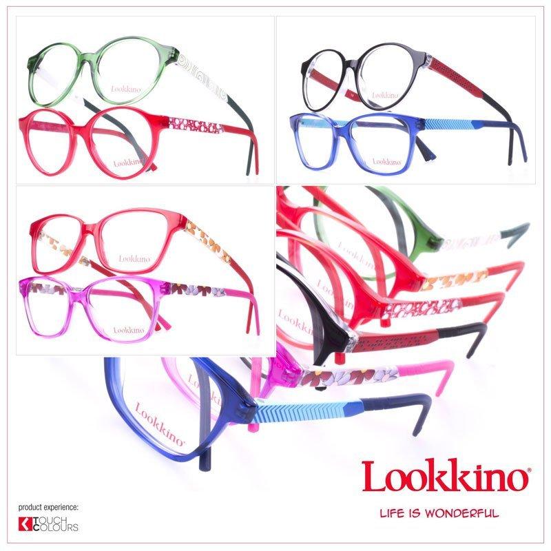 un collage di 3 immagine di occhiali da vista colorati su uno sfondo bianco