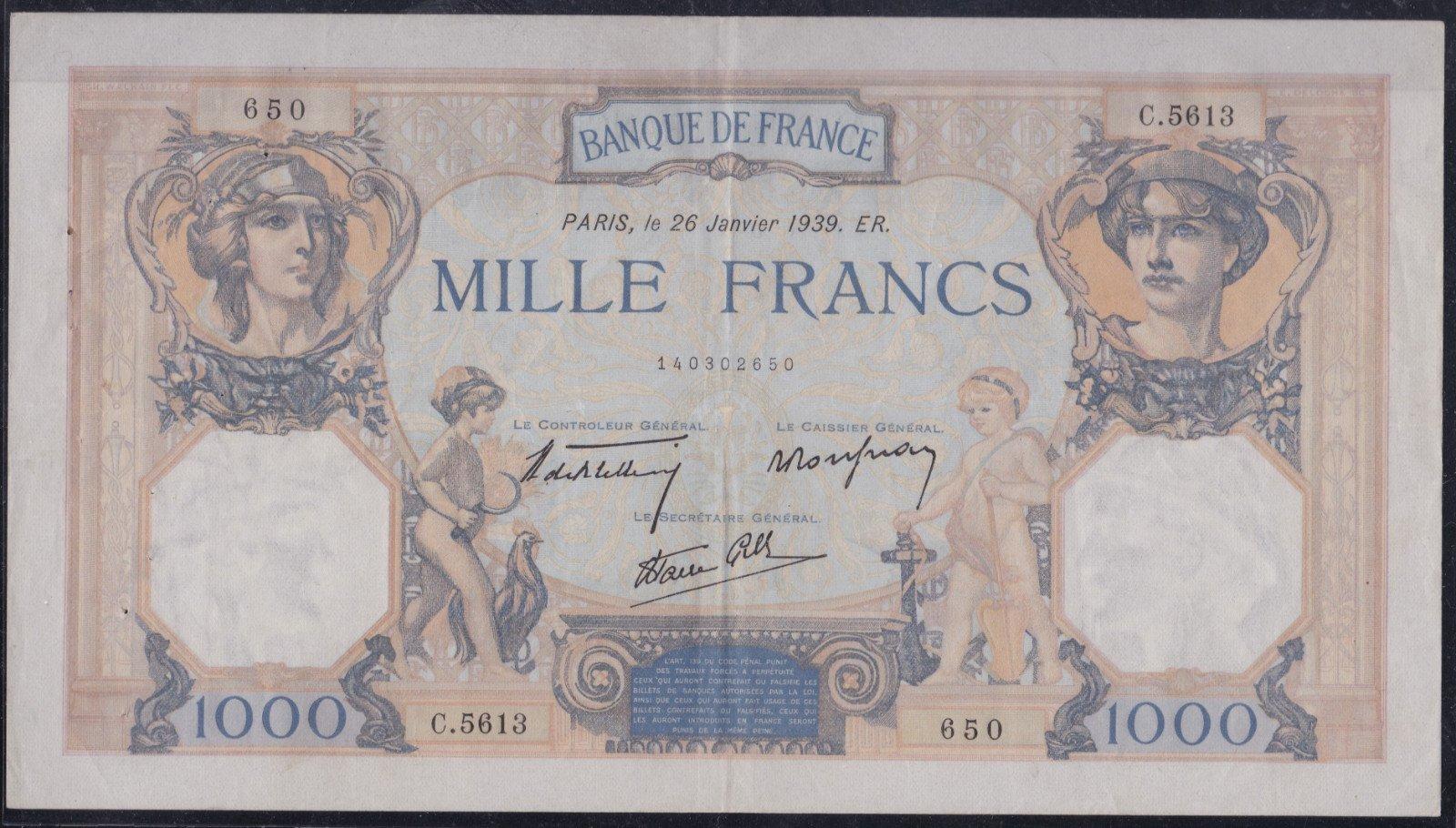 una banconota da mille Franchi