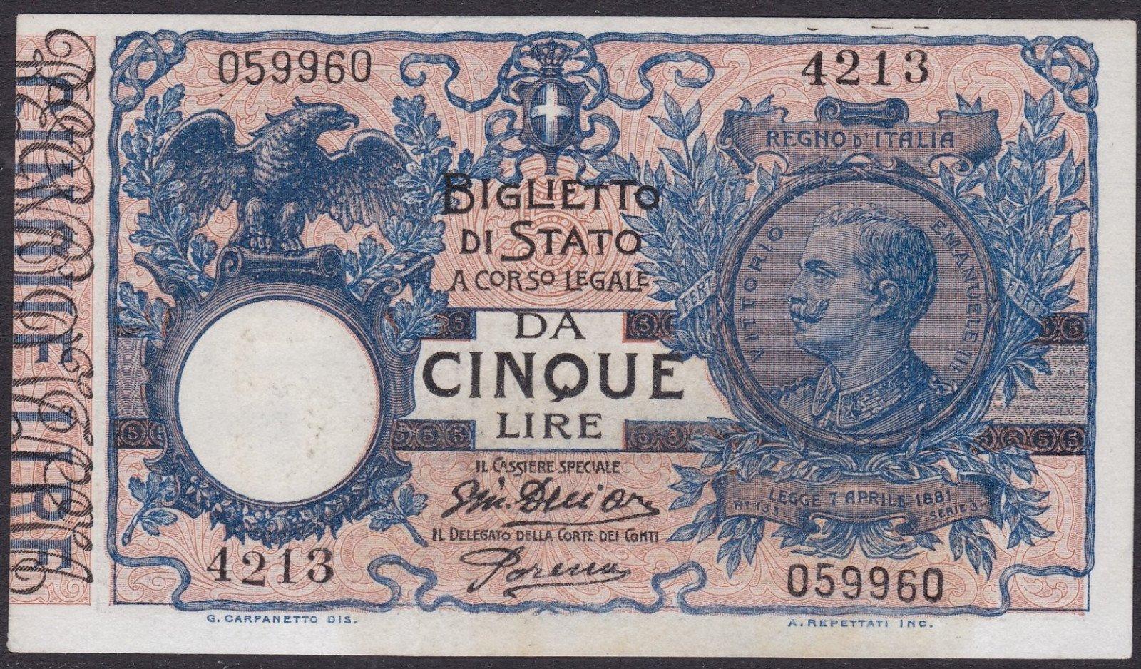 una banconota da 5 Lire