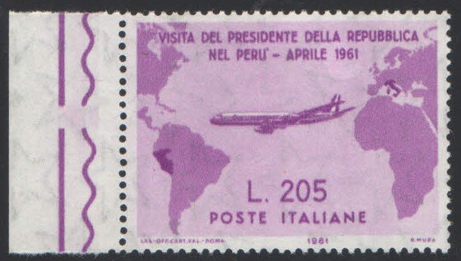 un francobollo con scritto visita del presidente della repubblica nel Peru' Aprile 1961