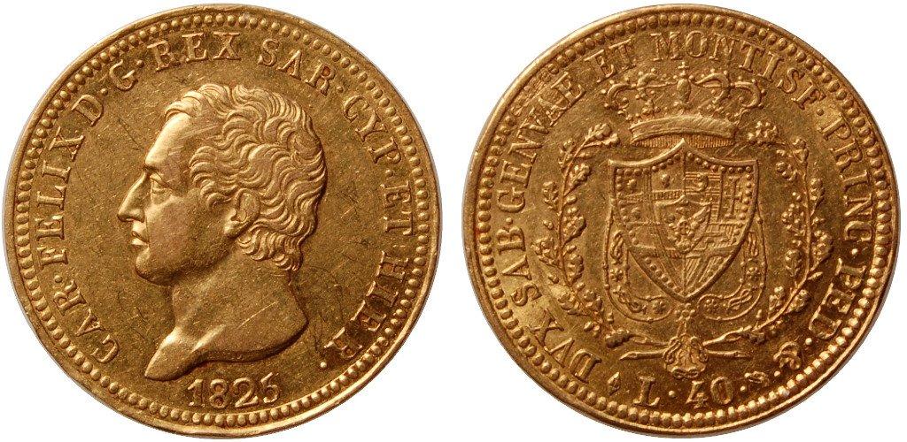 due antiche monete del 1825
