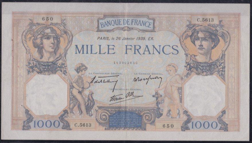 una banconota da 1000 Franchi