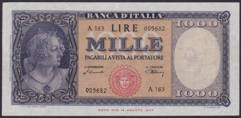 una banconota da 1000 lire