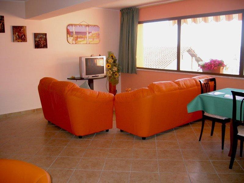 Camera con divani e televisione