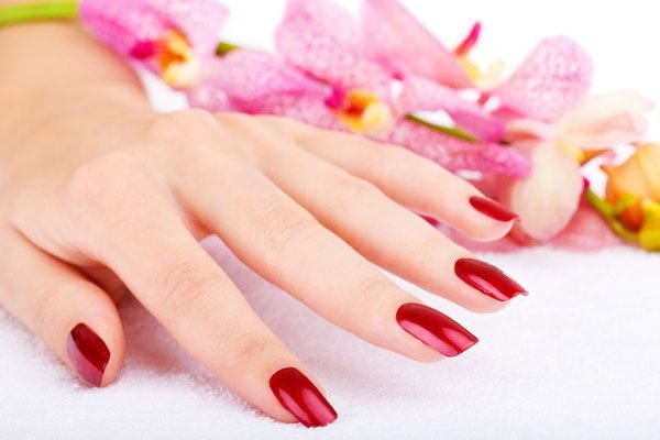 Red painted nails