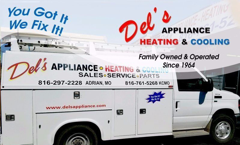 Del's Appliance Heating & Cooling Logo. Family owned & operated since 1964. You got it We fix it! Del's appliance truck with equipment.