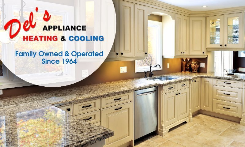 Del's Appliance Heating & Cooling Logo.  Family Owned & Operated Since 1964. Beautiful new kitchen.