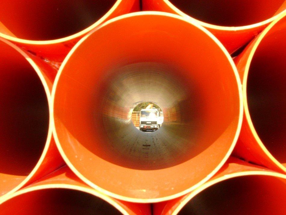 Vista dall'interno di un tubo a pressione