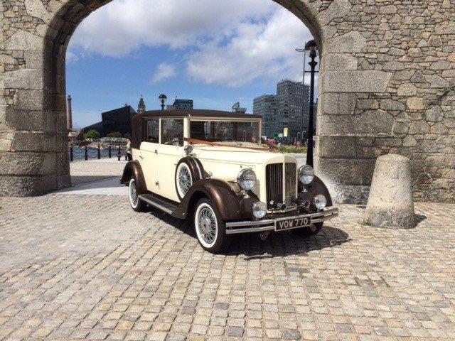 Stunning vintage wedding car
