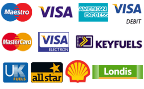 A selection of all major credit, debit and fuel card logos accepted by Sudbury Services
