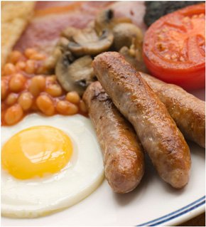 A close up of a full english breakfast at PJ's Café