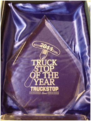 PJ's Café and Sudbury Services' glass award for Truck Stop of the Year