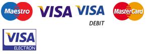 Credit card logos of Maestro, Visa, Visa Debit, Mastercard and Visa Electron