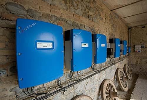 Impianto elettrico con centraline azzurre