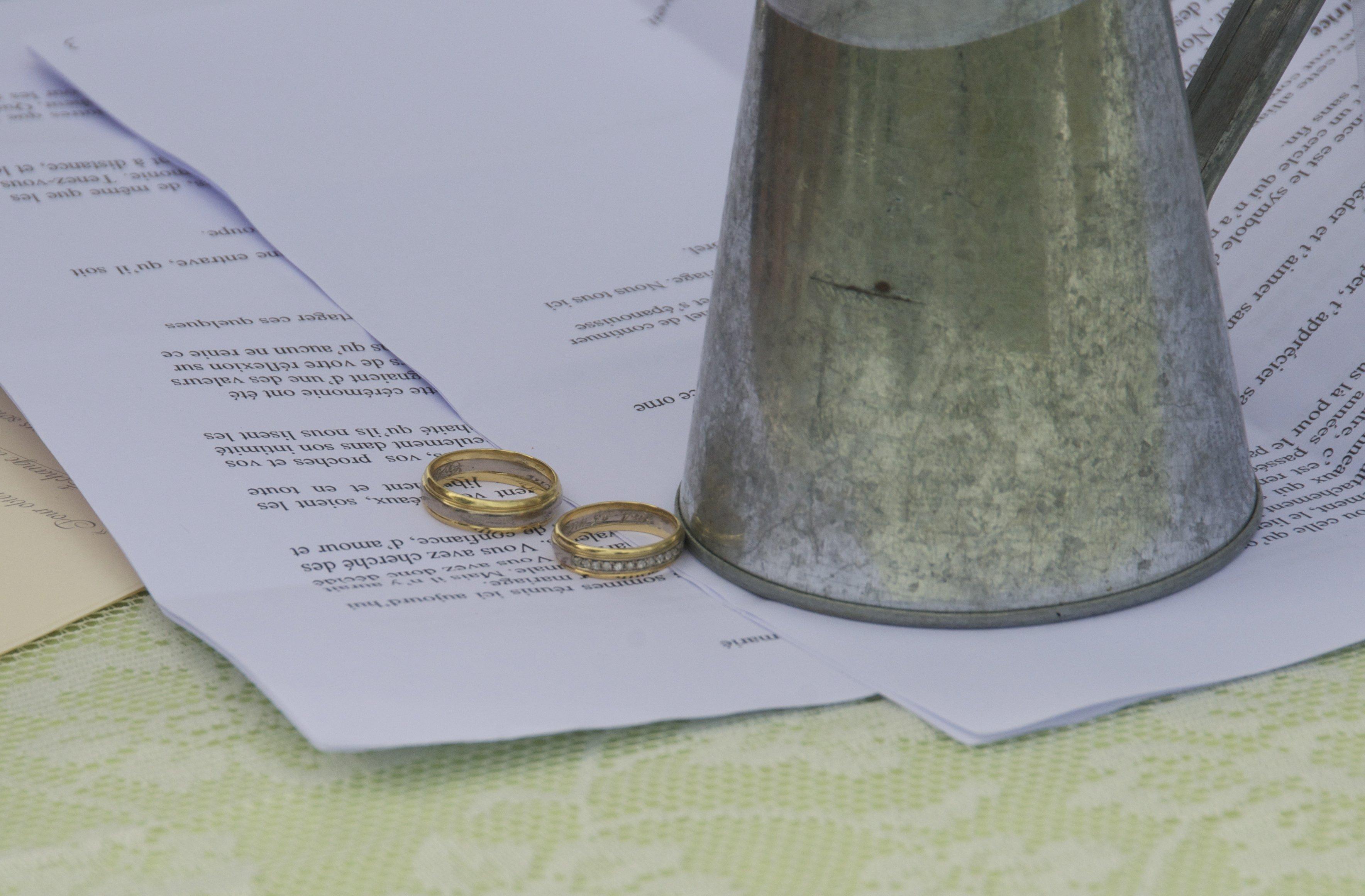 particolare di fedi nuziali e contratto matrimoniale