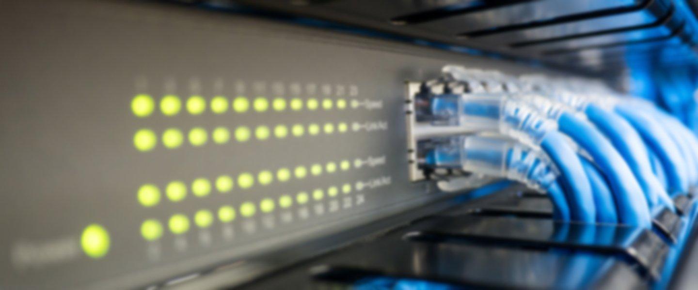 Cavi di internet collegati al server